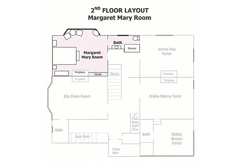 Layout of the second floor of property with soft pink highlight of guestroom floor plan