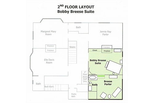 Inn floor with the guest room and sitting area highlighted in green on floor plan