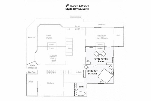 Detailed floor plan of the suite