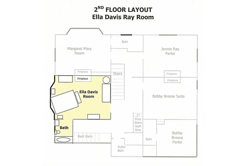 Floor plan with furniture layout in yellow of the Ella Davis room