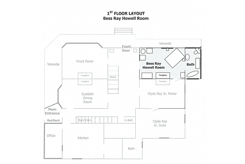 Inn floor diagram with guestroom highlighted in blue showing location