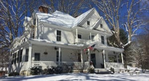 White house filled with snow - Oak Hill on Love Lane - Waynesville, NC